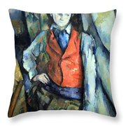 Cezanne's Boy In Red Waistcoat Throw Pillow