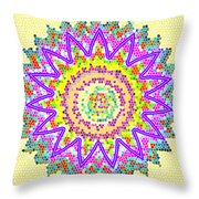 Chakra Energy  Mandala Ancient Healing Meditation Tool Stained Glass Pixels  Live Spinning Wheel  Throw Pillow