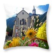 Chamonix Church Throw Pillow