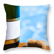 Champagne Bottle And Cork Throw Pillow