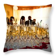 Champagne Glasses At The Party Throw Pillow