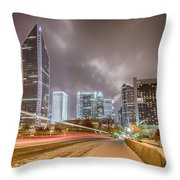 Charlotte Nc Usa Skyline During And After Winter Snow Storm In January Throw Pillow