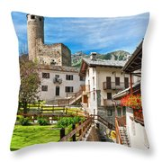 Chatelard Village With Castle Throw Pillow