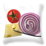 Cheese Onion And Tomato On Forks Against White Throw Pillow