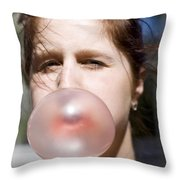 Chewing Gum Lady Throw Pillow