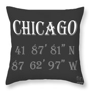 Chicago Coordinates Throw Pillow