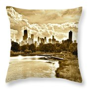 Chicago In Sepia Throw Pillow