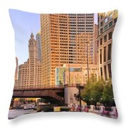 Chicago River Reflections Throw Pillow