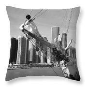 Chicago Skyline And Tall Ship Throw Pillow