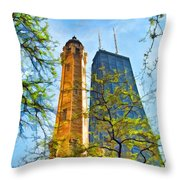 Chicago Water And Hancock Towers Throw Pillow