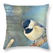 Chickadee With Verse Throw Pillow