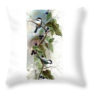 Chickadees And Blueberries Throw Pillow