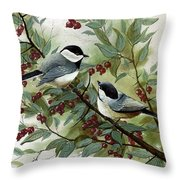 Chickadees And Cherries Throw Pillow