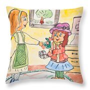 Child Drawing Of Mother Giving Gift To Daughter Throw Pillow