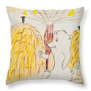 Child Painting Of Bear In Forest Throw Pillow