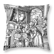 Childbirth, 1580 Throw Pillow