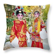 Children Dressed In Full Traditional Chinese Opera Costumes. Throw Pillow