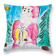 Child's Drawing Of Santa Claus With Watercolors Throw Pillow