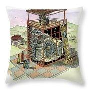 Chinese Astronomical Clocktower Built Throw Pillow