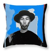 Chinese Man In Traditional Dress Circa 1882 Collage Tucson Arizona 1882-2013 Throw Pillow