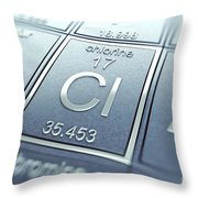 Chlorine Chemical Element Throw Pillow