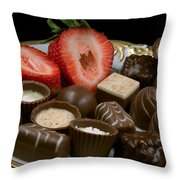 Chocolate On Plate With Strawberry Throw Pillow