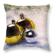 Christmas Balls Artistic Vintage Painting Throw Pillow