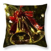 Christmas Bells Ornaments Faneuil Hall Tree Boston Throw Pillow