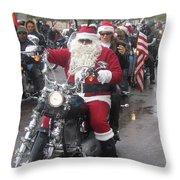 Christmas Toys For Tots Santa On Motorcycle Casa Grande Arizona 2004 Throw Pillow