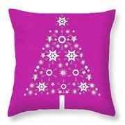 Christmas Tree Made Of Snowflakes On Pink Background Throw Pillow