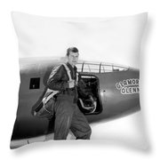 Chuck Yeager And Bell X-1 Throw Pillow