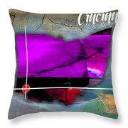 Cincinnati Ohio Map Watercolor Throw Pillow