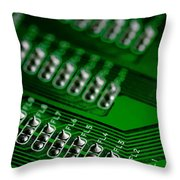 Circuit Board Bokeh Throw Pillow