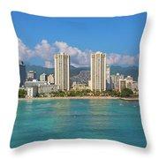 City At The Waterfront, Waikiki Throw Pillow