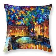 City Bridge Throw Pillow by Leonid Afremov