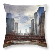 City - Chicago Il - Looking Toward The Future Throw Pillow