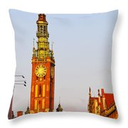 City Hall In Gdansk Throw Pillow