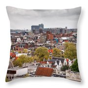 City Of Amsterdam From Above Throw Pillow