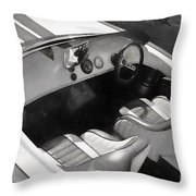 Classic Boat In Black And White Throw Pillow