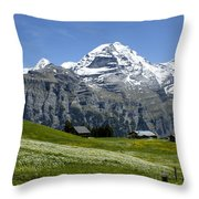 Classic Swiss Alps Throw Pillow