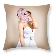 Classical Pinup Girl Posing In Retro Fashion Style Throw Pillow