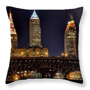 Cleveland Skyline At Night Throw Pillow