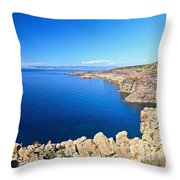 cliff in San Pietro Island Throw Pillow