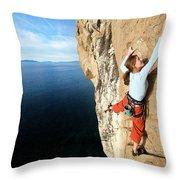 Climber Grabs A Hold While Climbing Throw Pillow