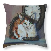 Clockwork Cat Throw Pillow