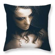 Close Up Portrait Of A Beautiful Vintage Bride Throw Pillow