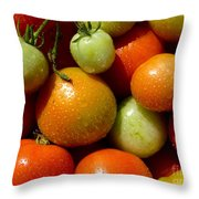 Closeup Of Ripening Fresh Tomatoes Throw Pillow