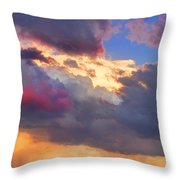 Cloudscape Sunset Touch Of Blue Throw Pillow