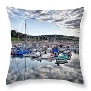 Cloudy Morning - Lyme Regis Harbour Throw Pillow