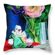 Clown Book And Flowers Throw Pillow
